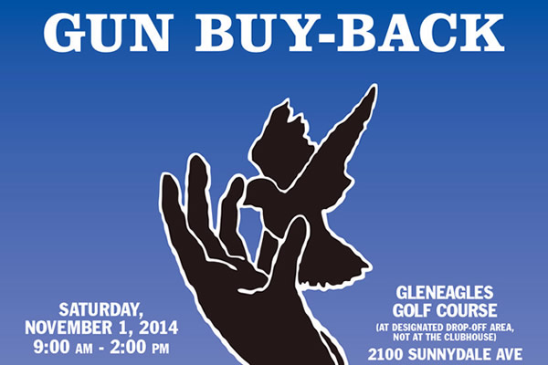 Gun buy-back on Saturday, November 1st from 9am to 2pm at the Gleneagle Golf Course located on 2100 Sunnydale Ave. NO QUESTIONS ASKED. Guns must be in UNLOADED and in WORKING CONDITION. Receive up to $100.00 for each gun and $200.00 for each assault weapon.