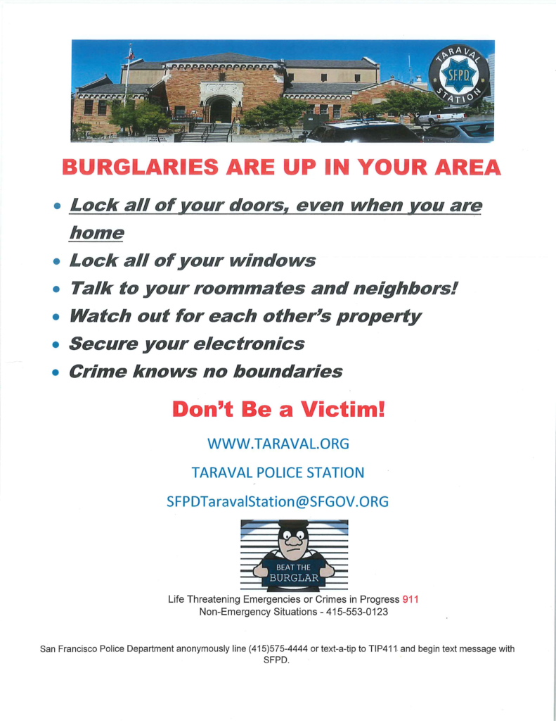 Flyier sayng Burglaries Are up