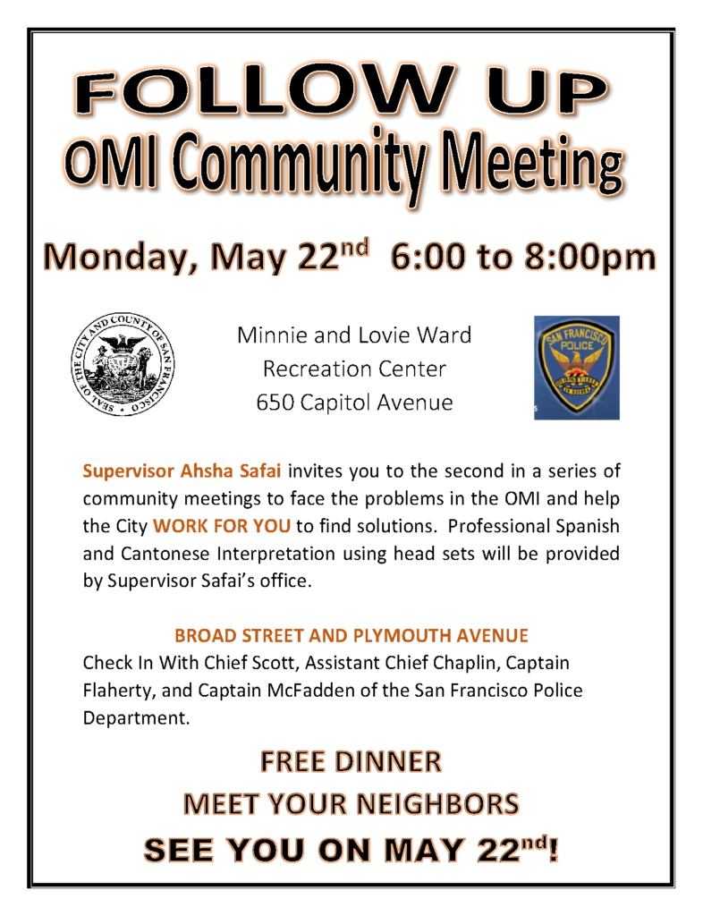 OMI community meeting flyer