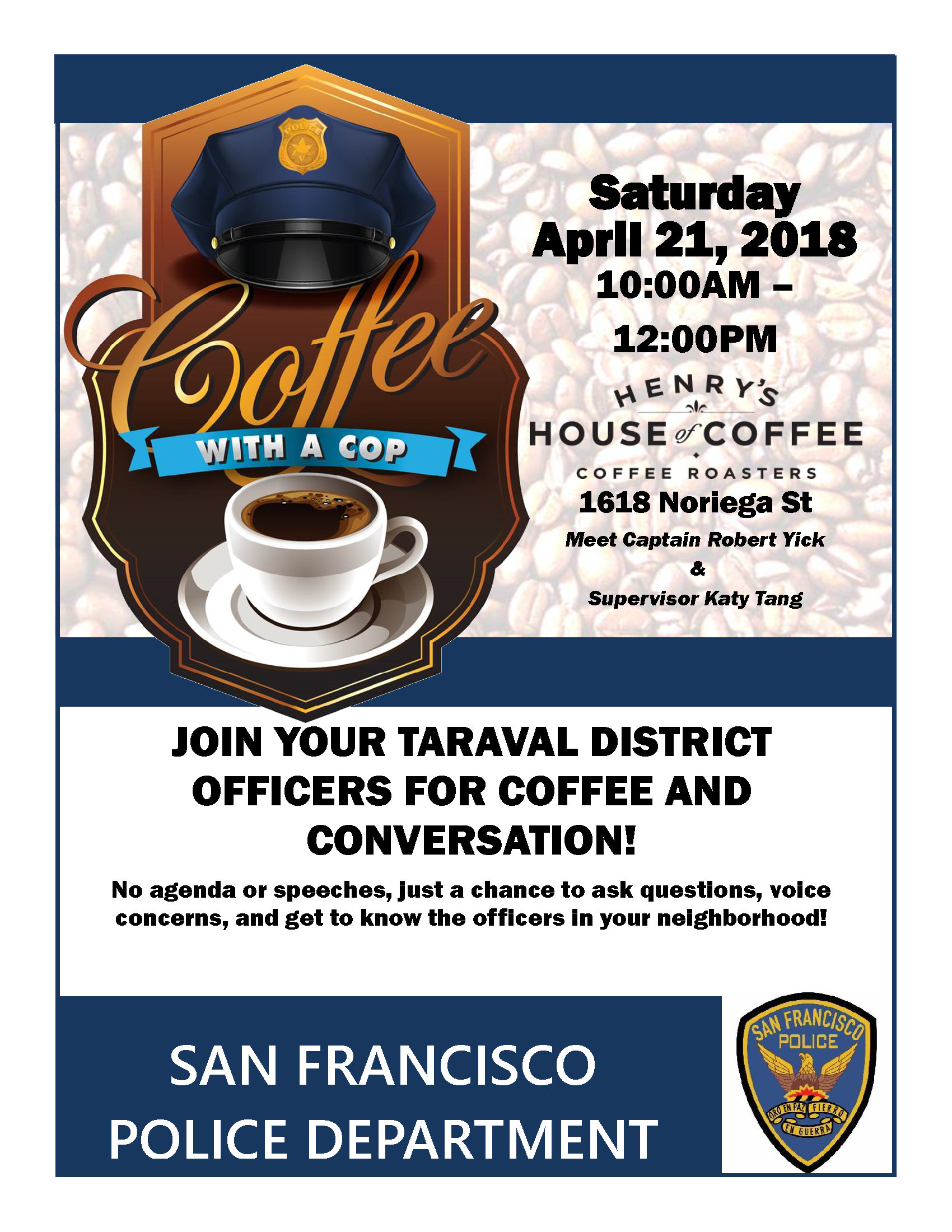 Coffee with a cop flyer Henry House of Coffee
