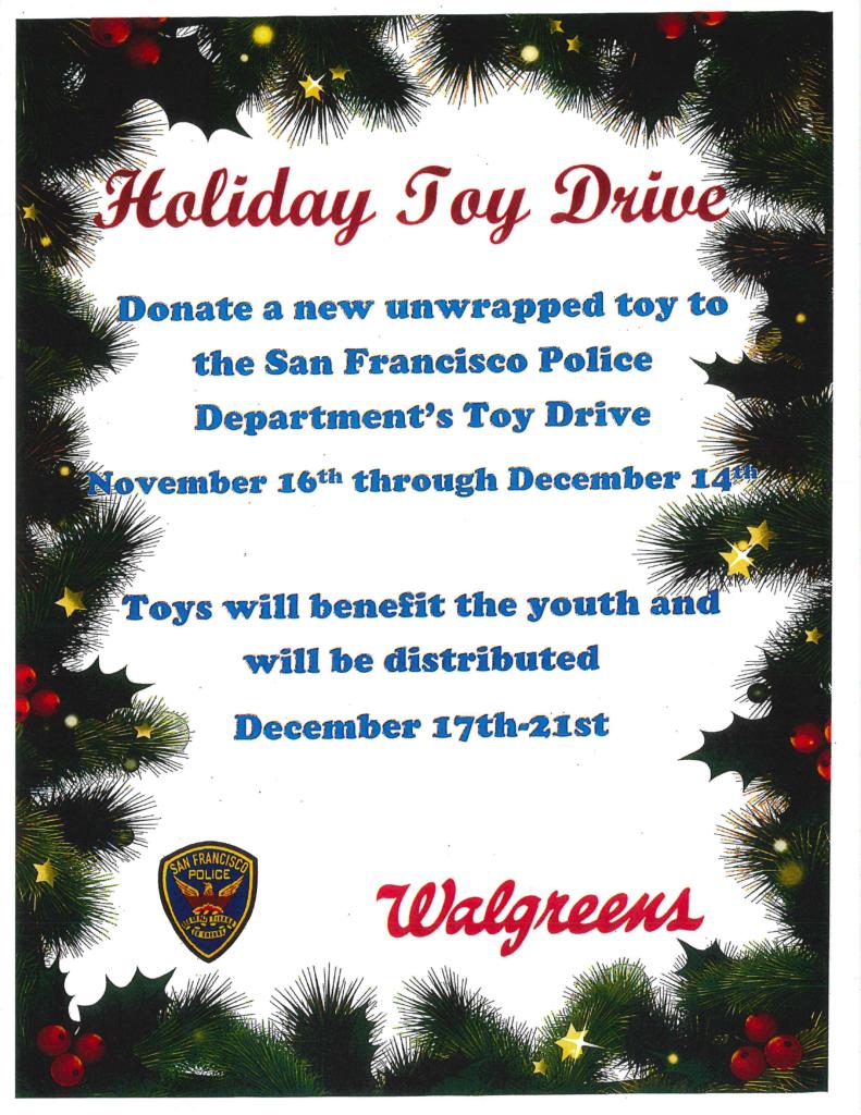 SFPD Holiday Toy Drive – November 16 to December 14 | Taraval Station