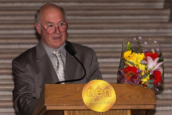Marc Christensen gives a thank you speech following his Lifetime Achievement Award.