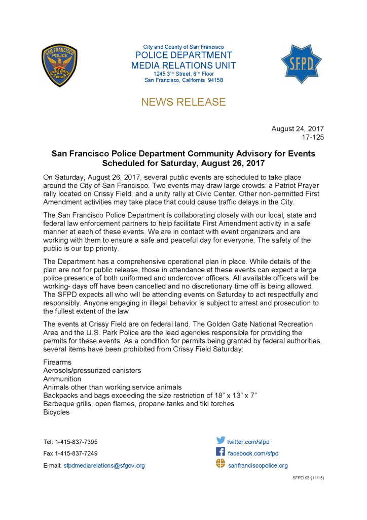 San Francisco Police Department Community Advisory for Events